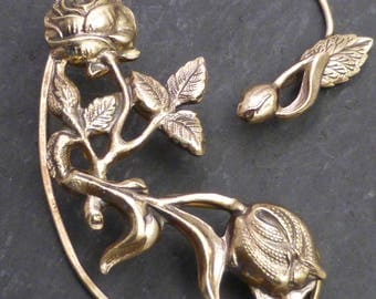 Flower and Leaf  Ear Wrap  -  ROSES for RIGHT Ear -  Brass Ear Cuff Wrap