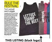 SALE lettuce turnip the beet ® trademark brand - light grey tank top with black logo - as seen on Madonna's choreographer and in DJ Mag