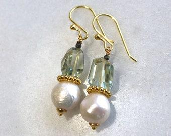 Genuine Kasumi AAA Ivory Pearl, Prasiolite Focal Earrings in 14kg fill....