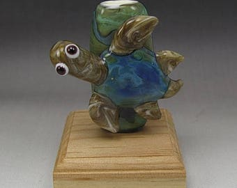 ON SALE Handmade Lampwork Glass Turtle Focal Bead by Jason Powers SRA