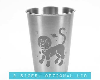 Astronaut Cat Stainless Steel Tumbler - Choose your size