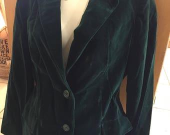 Vintage 70s Emerald Green Velet Blazer by Koret of California M/L Gift epsteam