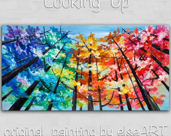 Sale Looking Up tree painting Changing Season large abstract art wall art gallery art modern art canvas art by Tim Lam 48x24