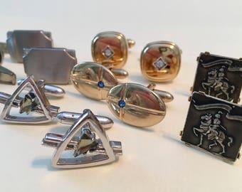 Vintage Cuff Link Collection - Swank - Rhinestone - Silvertone - Goldtone - Atomic Swank - Kressler - Madmen Attire - set of 6 Pair
