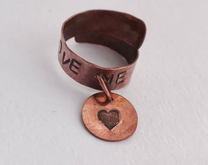Knuckle Ring *Love Ring *Adjustable Ring *Copper Love Ring *Dangle Ring *Copper Adjustable Ring