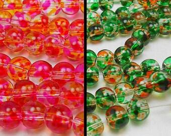 60 6MM Glass Beads round beads 30 pink, yellow and 30 green, orange (H9140)