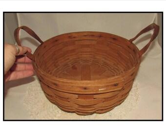 Vintage Round Longaberger Basket w/ leather handles, Signed & Dated 1988, storage
