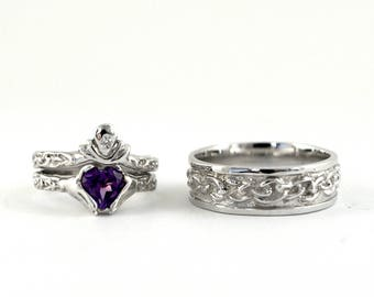 SALE Claddagh Wedding Set, Sample Sale, 3 Ring Wedding Engagement Ring Set, 10kt Mens size 10, Womens size 6, Genuine Amethyst, Diamond Ring