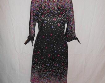 70's vintage floral black dress