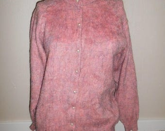 Closing Shop 40%off SALE Vintage button up Sweater cardigan  clothing clothes     pink      sparkles      womens women ladies