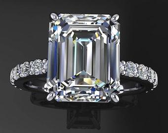 sage ring - 3.5 carat emerald cut NEO moissanite engagement ring, near colorless moissanite