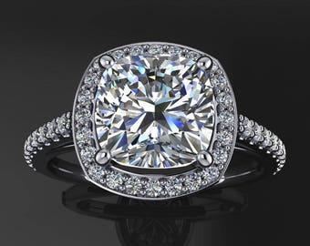 anya ring - 2 carat forever one moissanite engagement ring, diamond halo ring