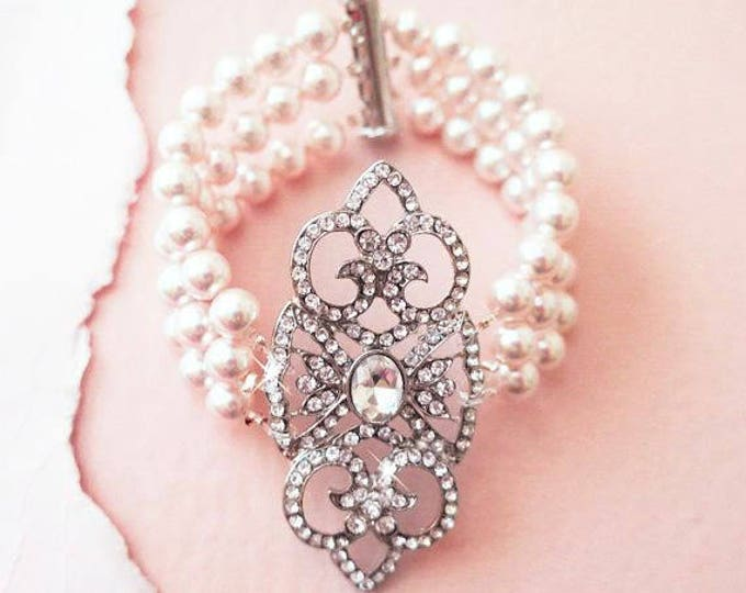 Art Deco Inspired Bridal Bracelet Pearl Crystal Wedding Bracelet