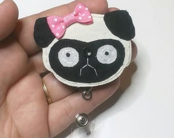 Pug Badge Reel, Pug Badge Card Holder,Pug, Pug Badge Reel, Pug Dog,ID Holder,Dog,Nursing Name Badge Holder,Badge Reel, Retractable, MTO