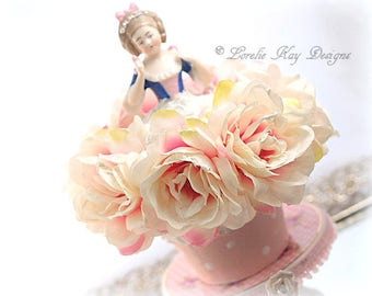 Roses Cupcake Art Doll Box on Cupcake Stand Mixed Media Assemblage Art Doll Birthday Cake Topper Baker Gift