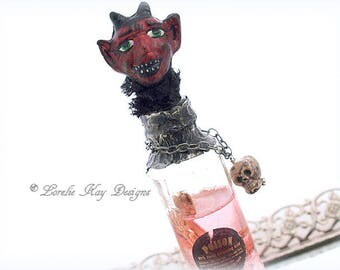 Poison Bottle Decoration Cute Devil Art Doll Altered Bottle Skeleton Parts Bottle of Poison Lorelie Kay Original
