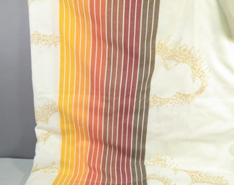 Vintage full flat sheet, double flat sheet, Pacific orange and brown rainbow with clouds, 1970s, dorm decor