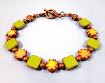 Picasso Beaded Bracelet, Lemongrass Green Squares and Yellow Daisies, Brass Beaded Bracelet, FREE Shipping U.S.