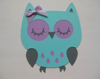 Owl Cutout - Aqua , Lavender and Gray - Birthday Party Decoration - Baby Shower Decorations - Set of 1