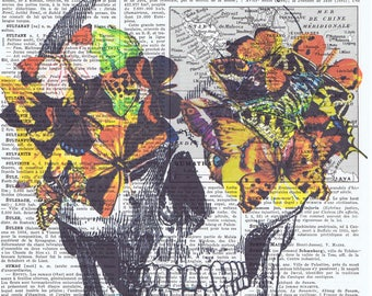 Skull.skeleton.catrina.butterflies..Gift,French.Antique Book Page Print,buy 3 get 1 free.deco.steampunk.goth.day of dead.dia de los meurtos