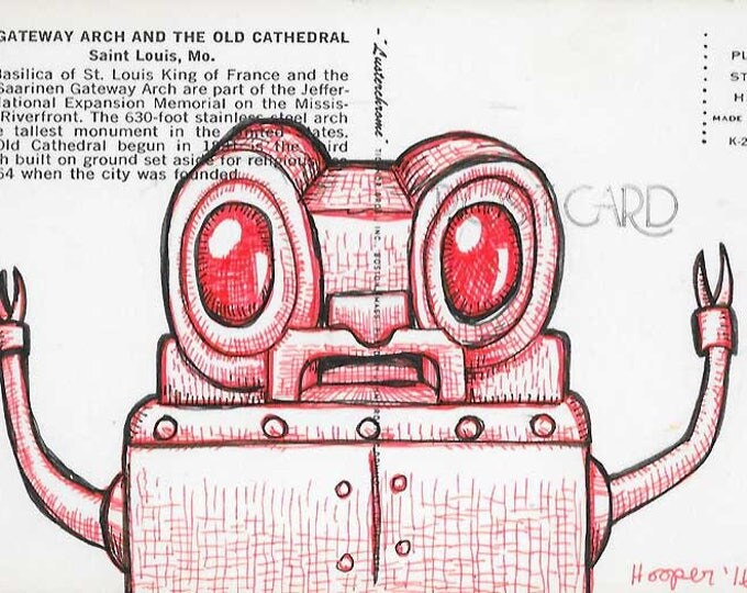 Red Eyed Robot - Original drawing on vintage post card by Mr. Hooper of Nashville, Tennessee