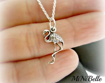 Sterling Silver Flamingo Necklace. Dainty Flamingo Charm Necklace