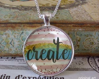 Create, glitter pendant, original art pendants,Ready To Ship in a  gift box, Christmas gifts under 20 dollars