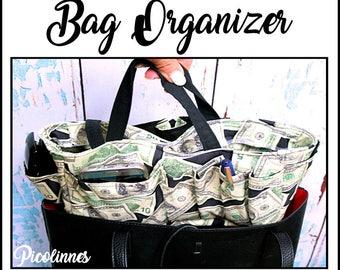 Bag Organizer, Purse Insert, Perfect Gift Handmade Boutique Dollar Bills Bag, tote, OOAK, Ready to Ship