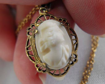 Vintage Necklace, Cameo, Angelskin, Hand-Carved, YGP Setting, YGF Chain, ca 1940s, NT-1077
