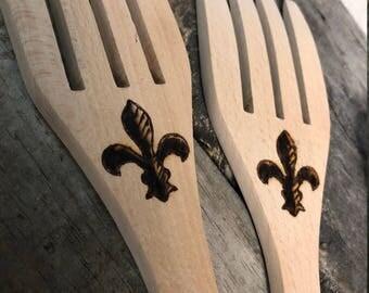 Wooden Serving Fork with engraved Fleur De Lis