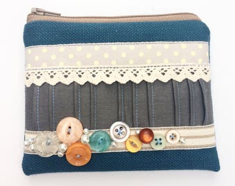 Dark Teal Vintage Button Coin Purse, Pouch, Zipper, Change Purse
