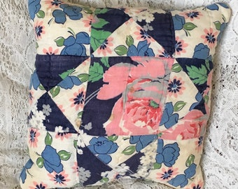 Upcycled quilt, cutter quilt pillow, vintage quilt pillow, shades of blue, patchwork pillow, cottage chic, porch pillow, pink floral
