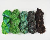 Enchanted Forest Handspun Art Yarn Mini Skein Collection Variety Pack 80 yards green teal brown