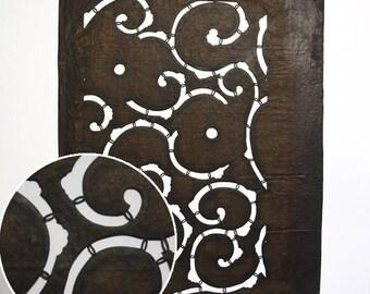 "Vintage Japanese Katagami Stencil Persimmon Paper ""Arabseque"""