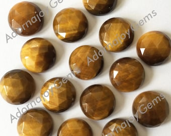 Gemstone Cabochon Tiger Eye 12mm Rose Cut Yellow FOR TWO