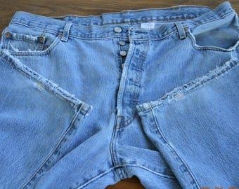 """501 Levi's Blue Jeans,100% cotton,worn,few small holes,W 42"""" , L 29 1/2"""" 80's vintage, Levi  Button Fly worn Blue Denim"""