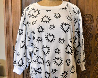 "80's Radiant Black Hearts on White Sweatshirt,Pop Art Graphics,Batwing sleeves,Hip Hop,by Judy Knapp up to 50"" chest"