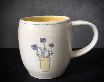 Handmade mug with sketched flowers - READY TO SHIP
