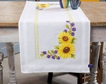Sunflowers Table Runner Cross Stitch Kit by Vervaco