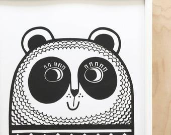 A3 Size Retro Happy Panda Screen Print by Jane Foster