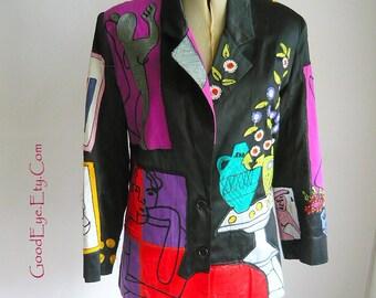 Amazing Sandy STARKMAN Embroidered  Jacket  Small  Medium size  6 8 10  Designer 2-button Blazer 1980's
