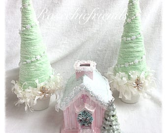 Pink VOTIVE Candle Church/HOUSE Christmas Shabby Chic SVFTeam ECS