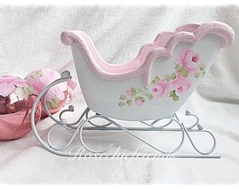 Shabby Chic Pink/White Sleigh Handpainted Roses ecs scteam svfteam