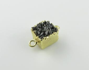 18mm Black Druzy Square Gemstone Connector, Base Metal (CN147)