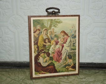 Vintage Lithograph Jesus wall plaque      Wooden composition plaque  Jesus and the little children  3502 Litho in USA