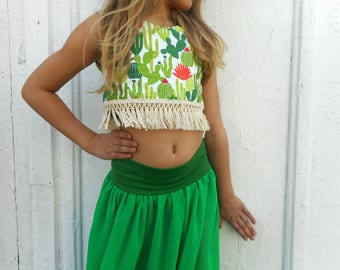 Cactus Reversible Crop Top with Cotton Fringe