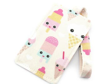 Cute Ice Cream Faces Fabric Travel Luggage Tag - Bag Tag - Travel Accessories - Gift for Traveler - Fun Gift