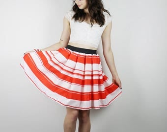 L Red & White Skirt,  Diy stripe skirt, Handmade Skirt, Womens Red Polka Dot skirt, STRIPE SKIRT, Red OOAK skirt