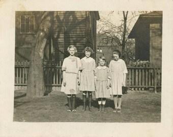 vintage photo 1910 Little girls Line Up in Row Named on Back Hamlin Collins McLeod