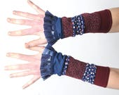 Blue and dark red ruffled cuffs, Stretchy jersey patchwork cuffs with blue ruffles, Gift for women, Womens accessories, Fun cuffs, MALAM